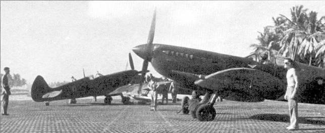 Истребитель «Спитфайр» Mk VIII из 136-й эскадрильи. Кокосовые острова, лето 1945г. В грозные для союзников первые дни 1942г. 136-я эскадрилья RAF была переброшена в Бирму, где прикрывая отступления сухопутных войск была почти полностью разбита. Истребители «Харрикейн IIА/В», состоявшие на вооружении эскадрильи, не могли противостоять японским истребителям Ки-27 «Нэйт» и Ки-43 «Оскар». В октябре 1943г. 136-ю эскадрилью перевооружили «Спитфайрами» Mk VC, а через три месяца — «Спитфайрами» Мк VIII. Летчики 136-й эскадрильи сбили самолетов больше, чем любое другое подразделение RAF, действовавшее в Юго-Восточной Азии.