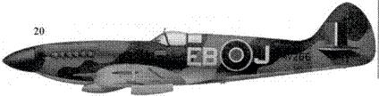 20. «Спитфайр» Mk XIVE «MV266/EB-J» командира 41-й эскадрильи скуадрон-лидера Джона Шепхирда, Туинти, Голландия, апрель 1945г.