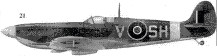 21. «Спитфайр» Mk IXC «BR581/V-SH» командира 64-й эскадрильи скуадрон-лидера Уилфреда Дункан-Смита, Хорнчарч, Август 1942г.