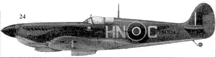 24.«Спитфайр» Mk IX «MH934/HN-С» уоррент-офицера Бобби Бантинга, 93-я эскадрилья, Лаго, Италия, февраль 1944г.