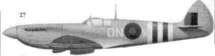 27. «Спитфайр» F Mk VII» MD139/ON-W» флэг-офицера Уолтера Хибберта, 124-я эскадрилья, Брэдуэлл-Бэй, июнь 1944г.