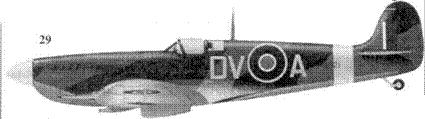 29. «Спитфайр» Mk IX «MA621/DV-A» флайт-лейтенанта Тони Гэзи, 129-я эскадрилья, Хорнчарч, август 1943г.