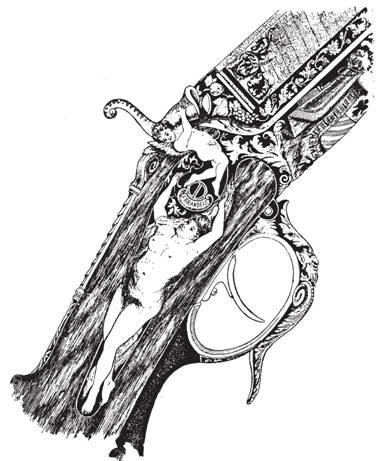 Рис. 105. Богато отделанные казенная часть и замок ружья Ф. Брандейса. Из книги Р. Корнелиса «Охота и снаряжение в описаниях и изображениях» (1884)