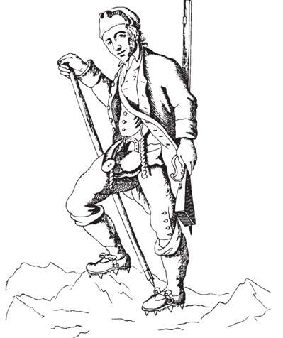 Рис. 110. Известный швейцарский охотник на серн Иоганн Хейтц. Отметим раздвоенный приклад ружья и шипы на обуви. Из книги Рейхарда «Красочное путешествие по Швейцарии» (1805)