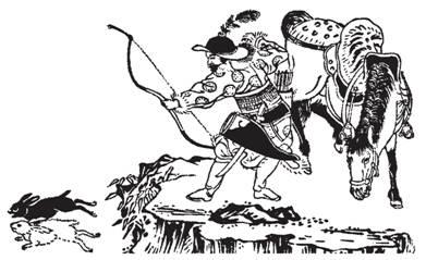 Рис. 55. Китайский лучник, использующий типичный большой лук с длинными ушами. По гравюре японского художника Тачибано Морикуни. 1727 г.