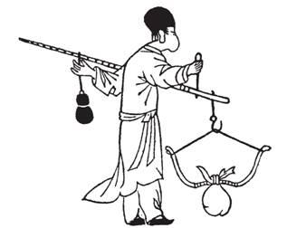 Рис. 56. Определение силы натяжения китайского лука. Гравюра из книги Сун Иньсина «Дянь Гун Гай-у» (1637)