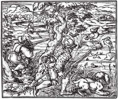 Рис. 87. Охотники с ружьями с колесцовыми замками охотятся на цапель и уток. Гравюра из книги Venatus et Ancupium (1582)