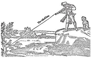 Рис. 88. Как правильно прицелиться (в точку ниже цели) с удобного расстояния. Из книги К. Лукара «Три книги бесед» (1588)