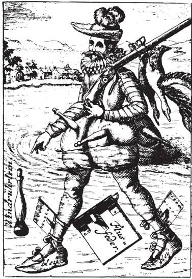 Рис. 90. Охотник на пернатую дичь с ружьем с колесцовым замком, пересекающий реку с помощью пояса из надутых шкур. Его ноги утяжелены свинцом и оснащены лопатками. Из книги Sonderbahre und Bissher Verborgen-Gewesene Geheime Kunste (1722)