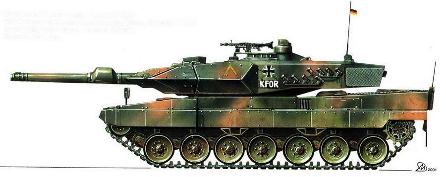Основной боевой танк Leopard 2А5. 214-й танковый батальон бундесвера, Международные силы по поддержанию мира в Косово (KFOR). Косово, 1999 год