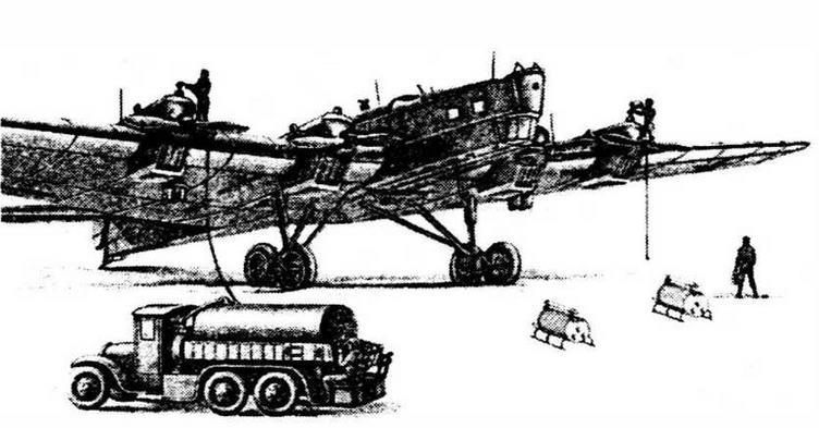 Обслуживание ТБ-3 на аэродроме (рисунок из руководства по эксплуатации).