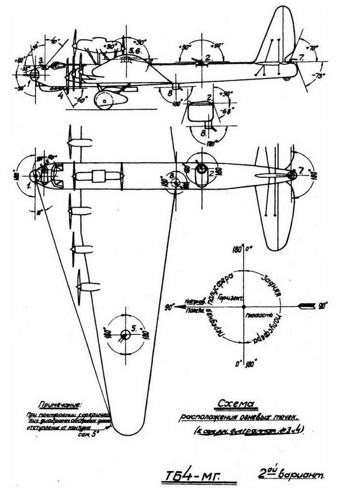 Схема вооружения военного МГ, также именовавшегося ТБ-4