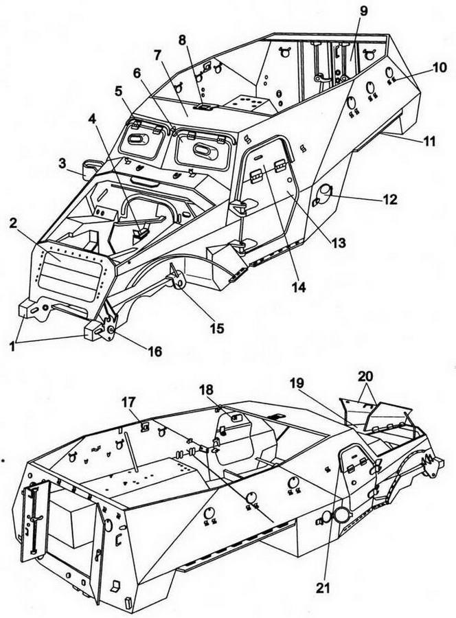 Броневой корпус ЗИС-100 (вид спереди и сзади):