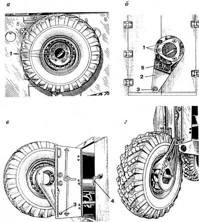 Крепление запасного колеса: а—установка запасного колеса; б — кронштейн запасного колеса: в, г — установка запасного колеса на кронштейне; 1 — болты крепления запасного колеса; 2 — кронштейн; 3 — ось кронштейна: 4 — рукоятка; 5 — фиксатор кронштейна