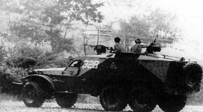 БТР-152К1 в Никарагуа. 1988 год. Вместо устаревших СГМБ на боевой машине установлены пулеметы ПКБ