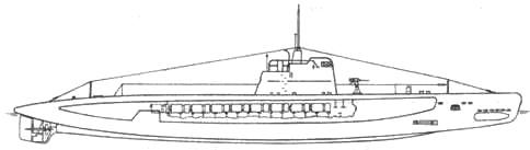 Подводный минный заградитель пр. 604. Вид сбоку
