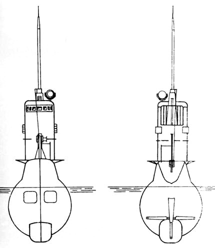 Подводная лодка XII серии. Вид с носа и с кормы, проектное изображение
