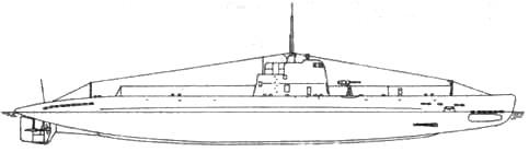 Подводная лодка XII серии. Вид сбоку.