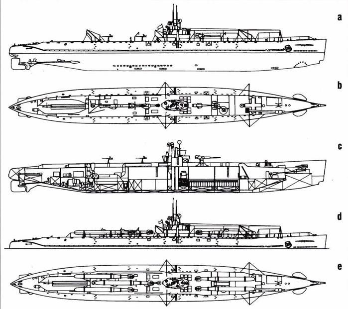 Японская подводная лодка «тип DI». a,b, c. В варианте подводного транспорта. d, е. В варианте носителя управляемых торпед.