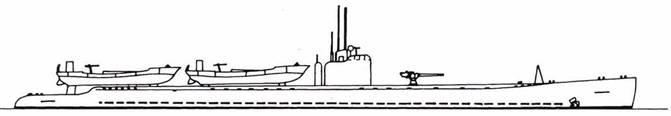 Японская подводная лодка «тип DI» в десантном варианте.