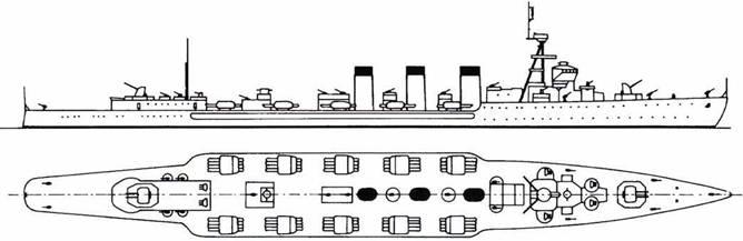 Японский крейсер Китаками, построен в 1920г.