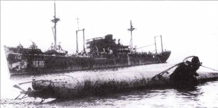 Японская сверхмалая подводная лодка на мели.