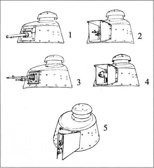 Варианты установки вооружения танков «Рено» FT из состава 1-го Амурского тяжелого танкового дивизиона НРА ДВР: 1 — 37-мм пушка; 2 — 8-мм пулемет Гочкис образца 1909 года с дополнительной броневой защитой; 3 — 8-мм пулемет Гочкис образца 1909 года, 4, 5 — 7,62-мм пулемет Максима с различными вариантами дополнительных броневых кожухов (рис. П. Шиткина).