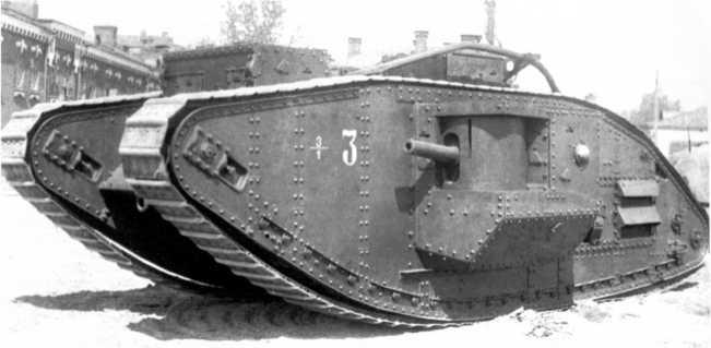 Танк MK-V «Рикардо», предположительно из состава 3-го танкового полка РККА. 1930 год. Хорошо видно тактическое обозначение на борту машины (АСКМ).