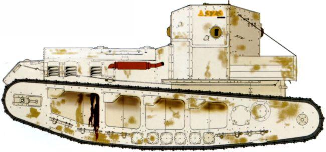 Танк МК-А № А-323. Москва, Броневой ремонтный завод в Филях, лето 1920 года.Машина в зимней белой окраске, которая, скорее всего, была нанесена танкистами ВСЮР.