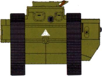Танк MK-V «Рикардо» с батальным тактическим обозначением в виде треугольника. Маневры Белорусского военного округа, 1928 год. Судя по цвету, это машина командира 2-й роты2-го батальона.
