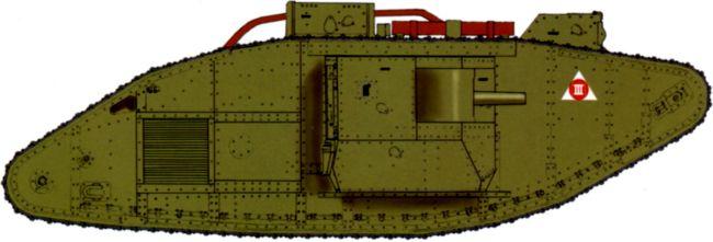 Танк MK-V «Рикардо» с батальным тактическим обозначением в виде треугольника. 1927 год. Судя по цвету, это третья машина 1-го взвода 1-й роты2-го батальона.