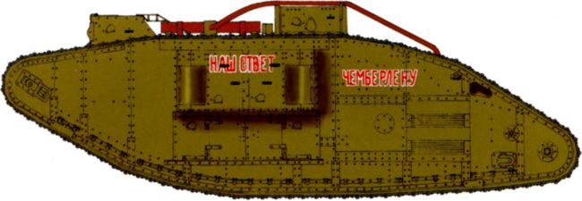 Танк MK-V c надписью на борту «Наш ответ Чемберлену». Парад 7 ноября 1929 года.