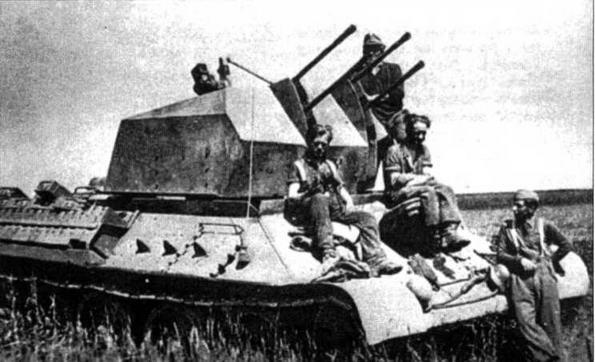 Трофейный танк Т-34, переделанный немцами в <a href='https://arsenal-info.ru/b/book/3958673306/25' target='_self'>зенитную самоходную установку</a> с 20-мм счетверенной автоматической пушкой. 1944 год