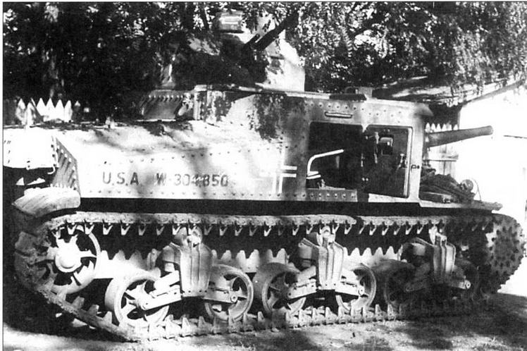 Американский танк М3, поставленный в СССР по ленд-лизу. Эта машина была захвачена немцами в 1942 году на Восточном фронте, а затем доставлена на Куммерсдорфский полигон