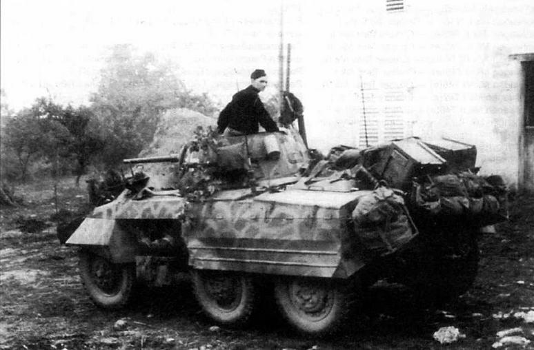 Американские бронеавтомобили М8, захваченные немцами в конце 1944 года в Северной Франции