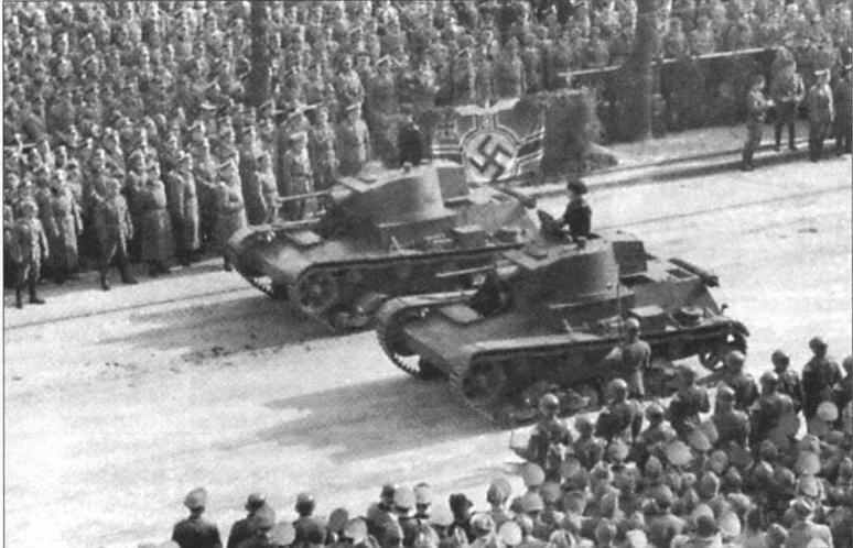 Танки 7ТР из состава 203-го <a href='https://arsenal-info.ru/b/book/348132256/10' target='_self'>танкового батальона</a> Вермахта во время парада в Варшаве. 5 октября 1939 года. Боевые машины выкрашены в темно-серый «немецкий» цвет