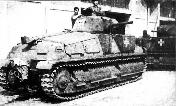 35S(f) 6-й роты 100-го танкового полка 21-й танковой дивизии. Нормандия, 1944 год. К моменту высадки союзников перевооружение полка танками Pz.IV еще не было завершено, поэтому в бой пошли и трофейные французские танки