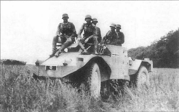 Бронеавтомобиль Panhard AMD178 в 39-м противотанковом дивизионе 3-й немецкой танковой дивизии. Лето 1940 года. По неизвестным причинам у машины отсутствует башня, в качестве вооружения используются два пулемета MG34