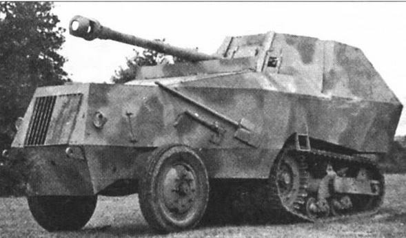 Боевые машины на базе артиллерийского тягача Somua S307(f): 75-мм самоходная противотанковая пушка