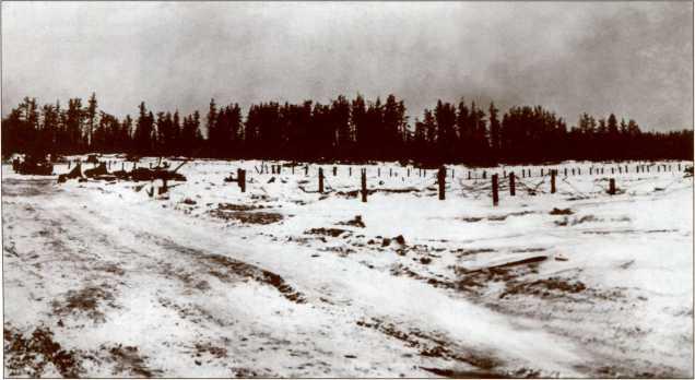 Финские заграждения перед высотой 48,6 и подбитые советские танки из 398-го отдельного танкового батальона 50-й <a href='https://arsenal-info.ru/b/book/446510402/118' target='_self'>стрелковой дивизии</a>.