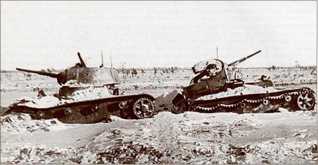 Подбитые Т-26 из 35-й легкотанковой бригады (АСКМ).