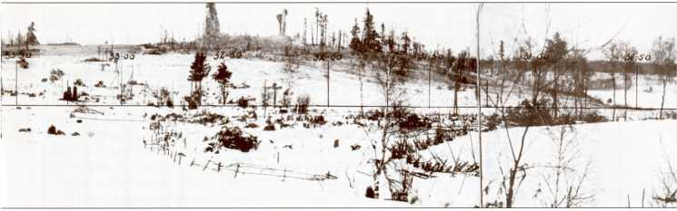 Панорама поля боя в районе Кирка-Муолаа. На переднем плане виднеются надолбы, заграждения из колючей проволоки, бронещитки. Видны также подбитые танки 39-й легкотанковой бригады.