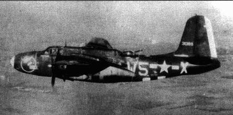 A-20G-35 из 640-й эскадрильи 409-й бомбардировочной группы. Самолет несет бомбы на внешней подвеске под крыльями. Нос и руль направления выкрашены в желтый цвет.