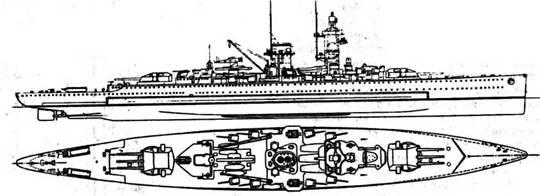 """""""Адмирал граф Шпее"""", объект долгой охоты """"Страсбурга; стал последним построенным германским 'карманным линкором"""" и первым, погибшим во второй мировой войне."""