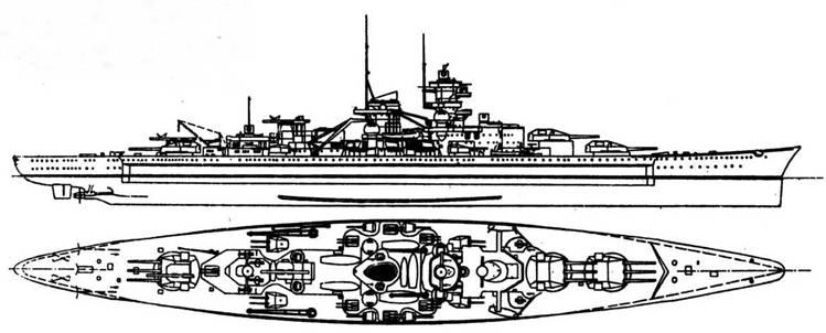 """""""Шарнхорст"""" и """"Гнейэенау"""" (1939 г., 32000 т, 31 уз., 9 283/54,5,12 150/55,14 105/65 зен., 2x3 ТА, броня борта 45-350, башен ГК 180-360, барбеты 350-200 мм) создавались в ответ на """"Дюнкерк"""" и """"Страсбург"""" и были для них опасными противниками."""