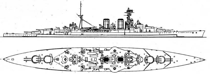 """Линейный крейсер """"Худ"""" (1920 г., 36300 т, 31 уз., 8 381/42, 6 140/50, 14 102-мм зён., броня борта 127-305, башни 381-178, барбеты 305-152 мм), флагманский корабль Соединения """"Н"""" при Мерс- эль-Кебире, а ранее – партнер """"Дюнкерка"""" по поисковой группе."""