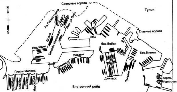 Расположение кораблей в гавани Тулона 27 ноября 1942 года.