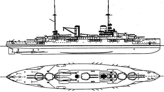 """'Прованс"""", """"Бретань"""" и """"Лоррэн"""" (вверху) стали последним подкреплением французского линейного флота в первую мировую войну (1916 г., 23320 т, 20 уз., 10 340/55, 22 138,6/55, 4 TA, броня борта 160-270, башен 250-400, барбетов 250-270 мм)"""