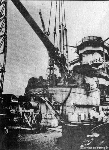 "Установка 330-мм орудий на ""Страсбурге"""