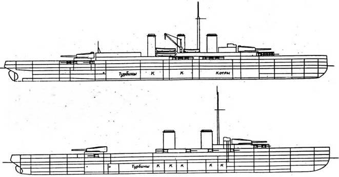 """Проекты линейных крейсеров 1913 года, сверху вниз: конструтора Жиля (28100 т, 28 уз , 12 340-мм орудий, броня 270 мм), конструктора Дюран-Виля (27065 т, 27 уз., броня 280 мм) вариант """"А"""" с 8 340- мм орудиями и вариант """"В"""" с восемью 370-мм орудиями"""